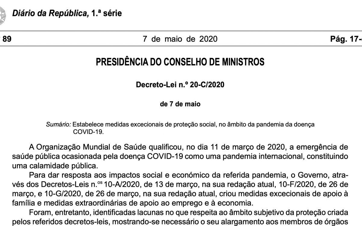 Pandemia Covid-19: Decreto-Lei 20-C/2020