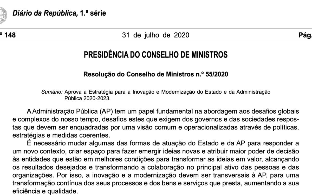 Estratégia para a inovação e modernização do Estado e da Administração Pública 2020-2023